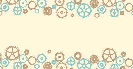 ギア・歯車モチーフの背景素材・ベクターバナーイラスト (文字スペース・コピースペース)