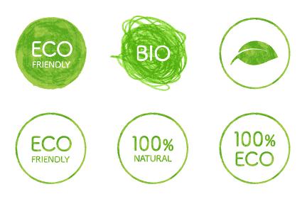 エコロジーのマークセット 色鉛筆テクスチャ