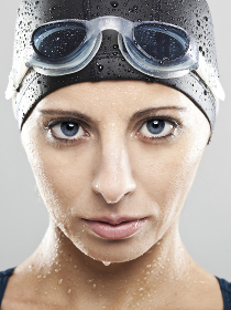 Portraits of a beautiful swimming sportswoman , Peniche, Portugal, Leiria District, Portugal