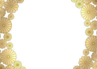 金色の菊のフレームイラスト 2