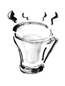 手描き筆書きの透明なグラスに入ったホットミルク モノクロ