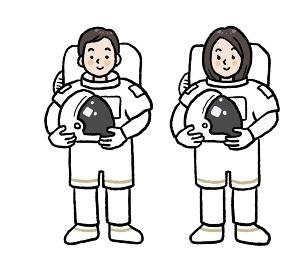 アジア人宇宙飛行士の男女のイラストセット