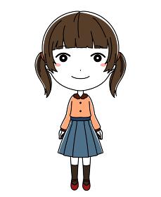 笑顔の女の子の全身イラスト