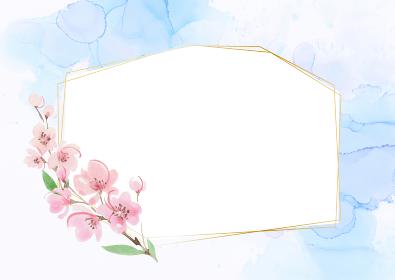 大理石風背景 桜のフレーム