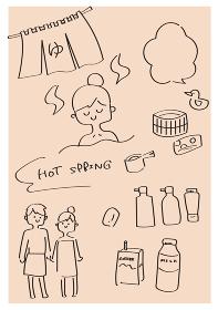 温泉の手描きラフイラスト