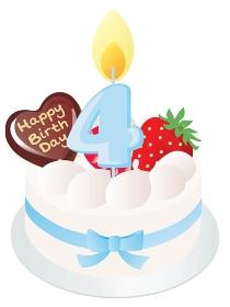 白い生クリームのお誕生日ケーキと4歳の数字のキャンドル