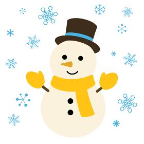 雪だるまと雪 イラスト素材