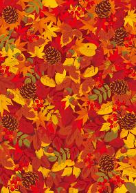 もみじと秋の落ち葉 背景イラスト