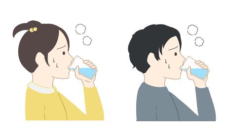 水分補給をする 子供(線無し)