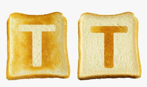 食パンに焼印風のアルファベットの大文字のT