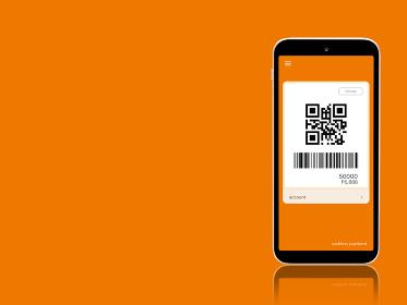 キャッシュレス決済 コード払いのイメージ オレンジ色 1403