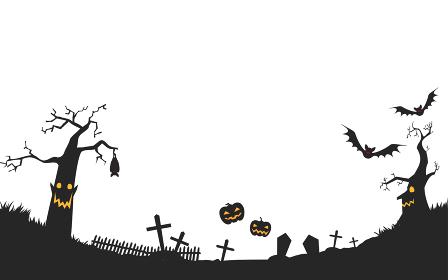 ハロウィンのカボチャと枯れ木のお化けがいる不気味な墓地のイラスト