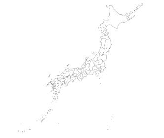 詳細な白抜き日本地図の県境