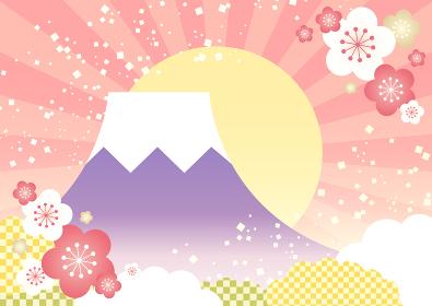 【年賀状素材】かわいい富士山と初日の出の背景イラスト ピンク