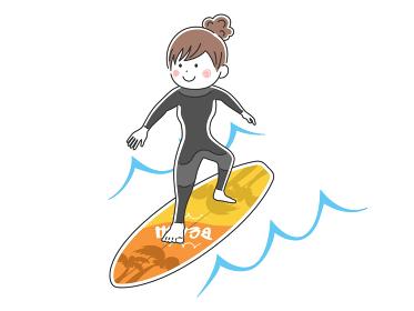 サーフィンをする女性のイラスト