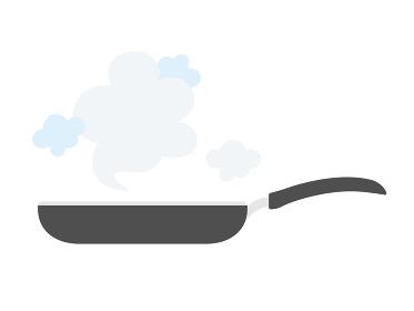 フライパンで調理するイラスト