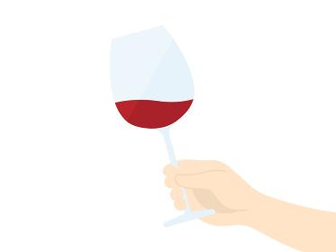 ワイングラスを持つイラスト