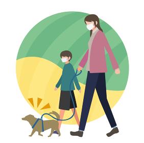 マスクを着用して散歩する親子・姉弟のイメージ フラットデザイン ベクター