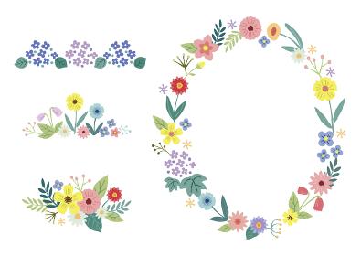 花の装飾フレームセット