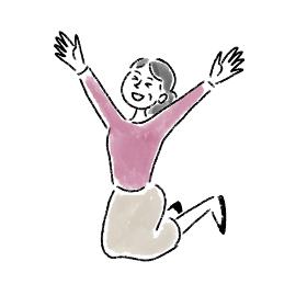 ジャンプ 喜ぶ 女性 ミドルエイジ 水彩 手描き