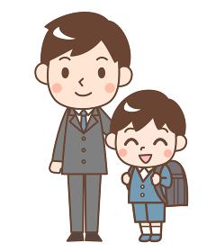 入学式の息子と父親