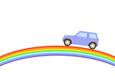 虹と青いジープ
