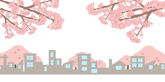 町並みシルエット  桜の枝