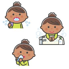 感染症予防/うがい、手洗い、水分補給をする女の子/線あり