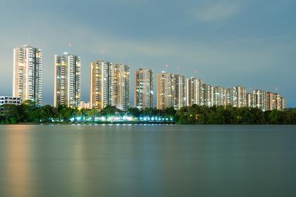 Image of Condo building in twilight.