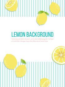 手書きのレモン、爽やかなブルーのストライプの背景素材
