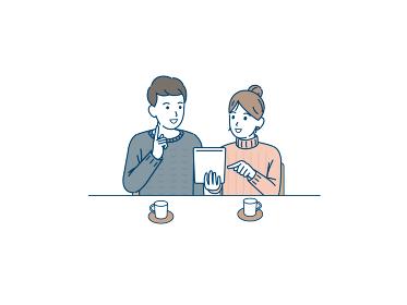 タブレットを使う若い夫婦 カップル 会話 コミニュケーション イラスト素材