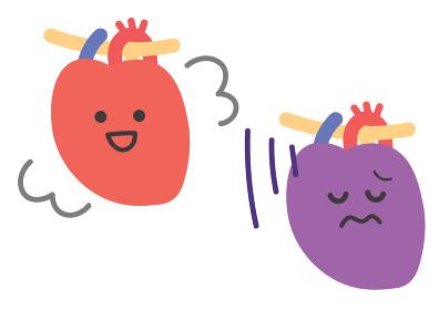 健康な心臓と不健康な心臓のイラスト