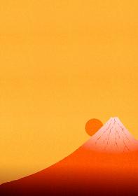 赤色に輝く富士山と日の出のイラスト 2 縦位置