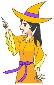 魔女の格好で上を指差す若い女性