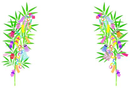 七夕の笹飾りのイラスト 【左右対称】