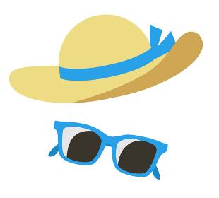 麦わら帽子とサングラス 日焼け防止アイコンセット