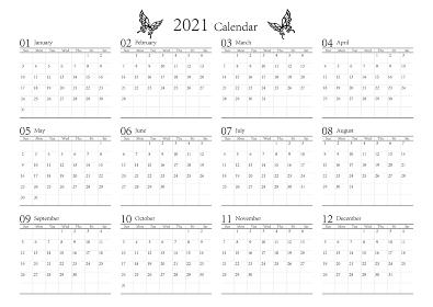 胡蝶 アゲハチョウ 2021年のシンプルなモノクロのカレンダー 12カ月 ベクター