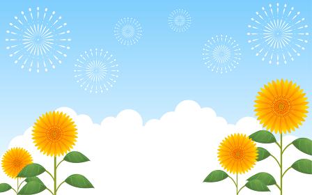 青空を背景にした向日葵と入道雲と打ち上げ花火