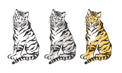 イラスト素材 年賀状 水墨画風のかっこいい虎のイラストレーション