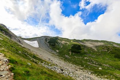剱御前小舎付近の山道から見た剱沢雪渓