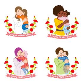 母の日クリップアート 子供を抱っこする母親とカーネーションの飾り バリエーションセット