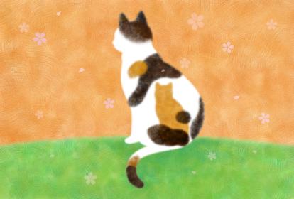 桜舞い散る春と三毛猫