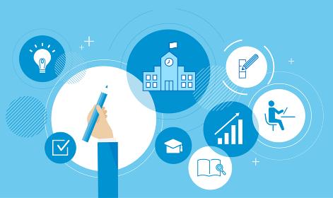 学業のイメージグラフィック、ベクターイラストレーション