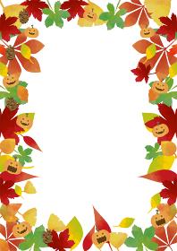 秋の紅葉:ジャック・オー・ランタンとカラフルモミジの色づいた背景素材