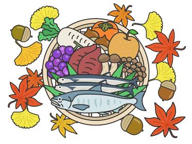ザルに乗せた秋の食材のイラストセット