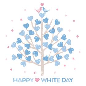 ホワイトデー ハートのツリーとラブラブの小鳥