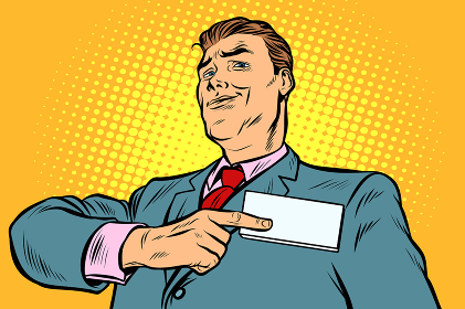 Businessman points at a name badge id