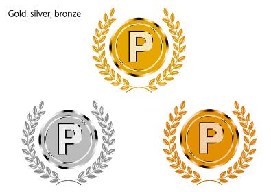 金銀銅の月桂樹・ローレルつきトロフィーのイラストセット:1位~3位のトロフィー|Trophy