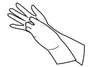 爪の間を洗う手のイラスト 白黒