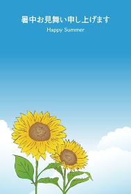 青空とひまわりの暑中見舞いイラスト